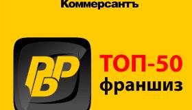 РосБизнесРесурс в ТОП-50 франшиз издания КоммерсантЪ